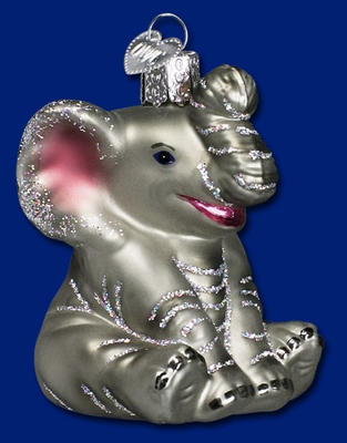 "Old World Christmas Glass Ornament - ""Little  Elephant"""