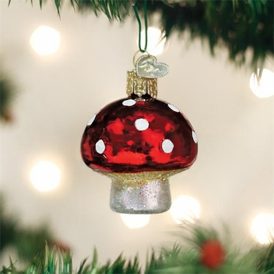 "Old World Christmas Glass Ornament - ""Lucky Mushroom"""