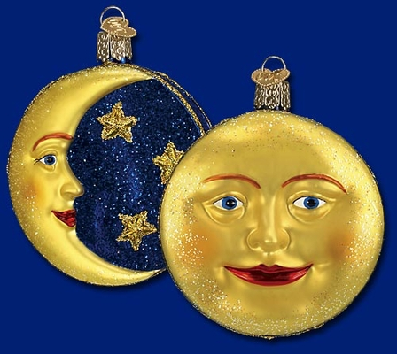 """Old World Christmas Glass Ornament  - """"Man in the Moon"""""""