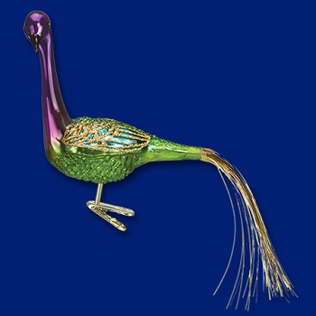 "Old World Christmas Glass Ornament - ""Mardi Gras Peacock"""