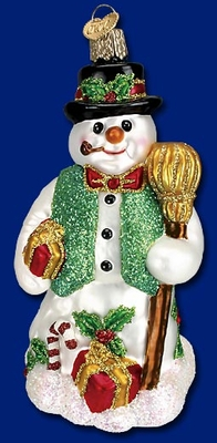 """Old World Christmas Glass Ornament  - """"Merry Mr. Snow"""""""