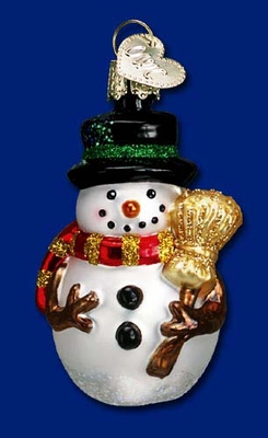 "Old World Christmas Glass Ornament - ""Miniature Mr. Snowy"""