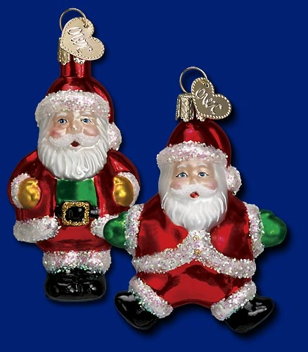 "Old World Christmas Glass Ornament  - ""Miniature Santa"""