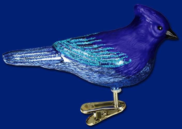 "Old World Christmas Glass Ornament  - ""Mountain Blue Jay"""