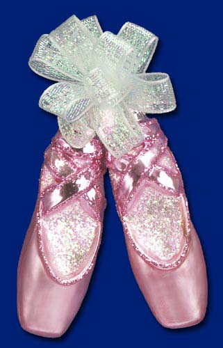 "Old World Christmas Glass Ornament - ""Pair of Ballet Slippers"""
