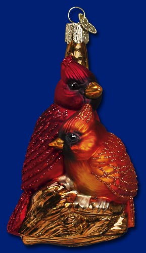 "Old World Christmas Glass Ornament - ""Pair of Cardinals"""