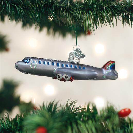 "Old World Christmas Glass Ornament - ""Passenger Plane"""