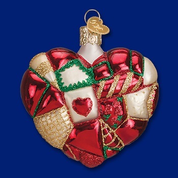 """Old World Christmas Glass Ornament - """"Patchwork Heart"""""""