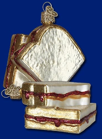 "Old World Christmas Glass Ornament  - ""Peanut Butter & Jelly Sandwich"""