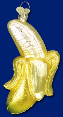 "Old World Christmas Glass Ornament  - ""Peeled Banana"""