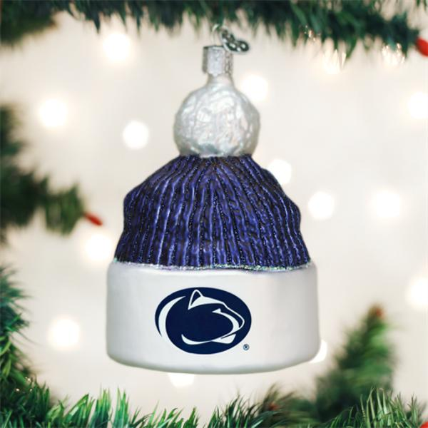 Old World Christmas Glass Ornament - Penn State Beanie