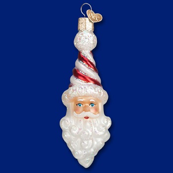 "Old World Christmas Glass Ornament - ""Peppermint Twist Santa"""