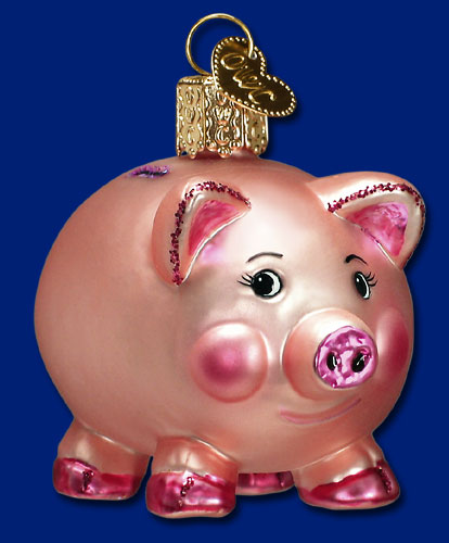 "Old World Christmas Glass Ornament  - ""Piggy Bank"""