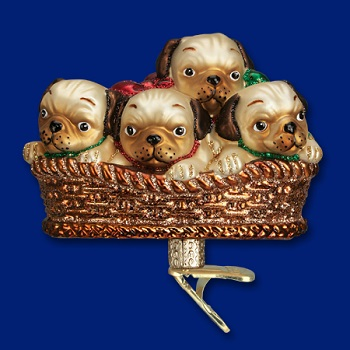 "Old World Christmas Glass Ornament - ""Pile Of Puggles"""