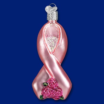 "Old World Christmas Glass Ornament - ""Pink Ribbon With Roses"""