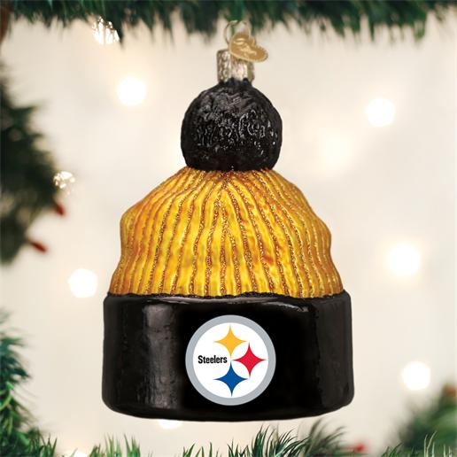 Old World Christmas Glass Ornament Pittsburgh Steelers Beanie