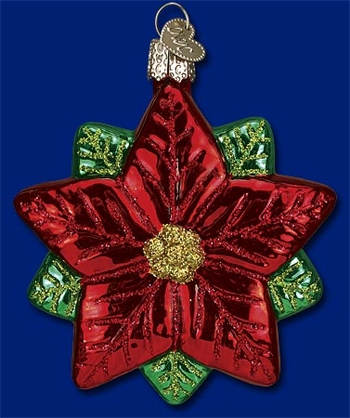 "Old World Christmas Glass Ornament - ""Poinsettia Star"""