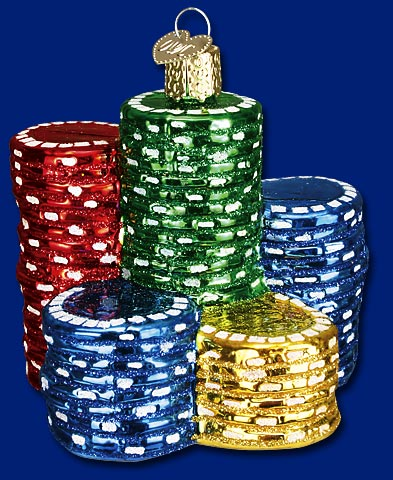 "Old World Christmas Glass Ornament  - ""Poker Chips"""