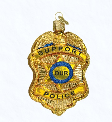 "Old World Christmas Glass Ornament - ""Police Badge"""