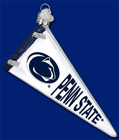"Old World Christmas Glass Ornament - ""PSU Pennant"""