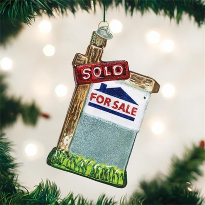 """Old World Christmas Glass Ornament - """"Realty Sign"""""""