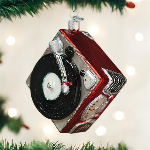 "Old World Christmas Glass Ornament - ""Record Player"""