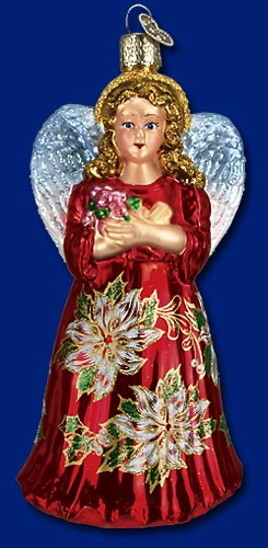 "Old World Christmas Glass Ornament  - ""Red Poinsetta Angel"""