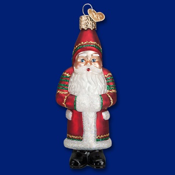 "Old World Christmas Glass Ornament - ""Ric Rac Santa"""