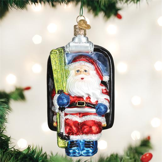 "Old World Christmas Glass Ornament - ""Santa On Ski Lift"""