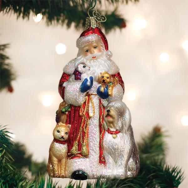 Old World Christmas Glass Ornament - Santa's Furry Friends
