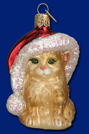 "Old World Christmas Glass Ornament - ""Santa's Kitten"""