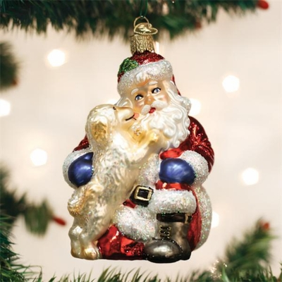 "Old World Christmas Glass Ornament - ""Santa's Puppy Love"""