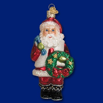 Old World Christmas Glass Ornament - Santa With A Wreath