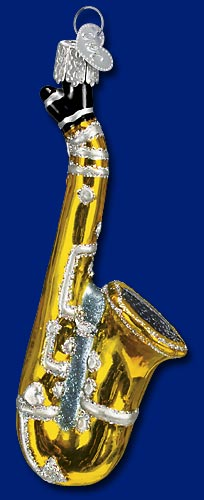 "Old World Christmas Glass Ornament  - ""Saxophone"""