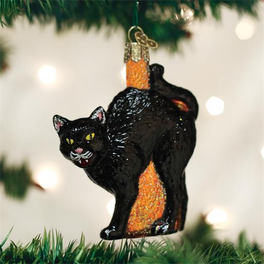 Old World Christmas Glass Ornament - Scaredy Cat
