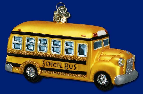 "Old World Christmas Glass Ornament  - ""School Bus"""
