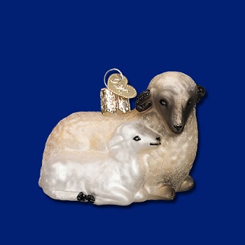 "Old World Christmas Glass Ornament - ""Sheep With Lamb"""