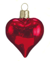 """Old World Christmas Glass Ornament - """"Shiny Red Heart"""""""