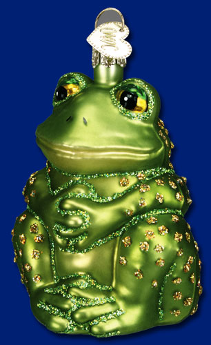 "Old World Christmas Glass Ornament  - ""Sitting Frog"""