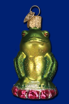 "Old World Christmas Glass Ornament - ""Smug Mug Frog"""