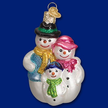 old world christmas glass ornament snow family - Merck Family Old World Christmas