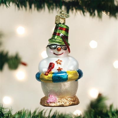 "Old World Christmas Glass Ornament - ""Snowman On Beach"""
