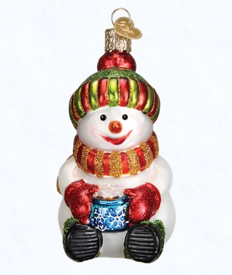 """Old World Christmas Glass Ornament - """"Snowman With Cocoa"""""""