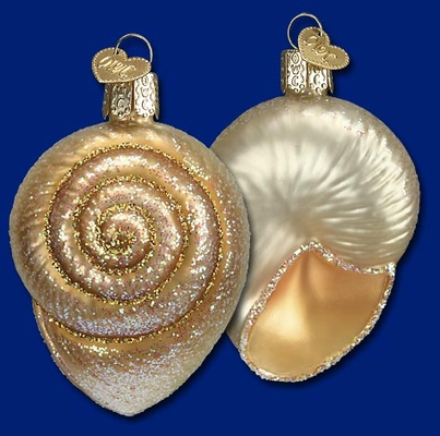 "Old World Christmas Glass Ornament - ""Sprial Seashell"""