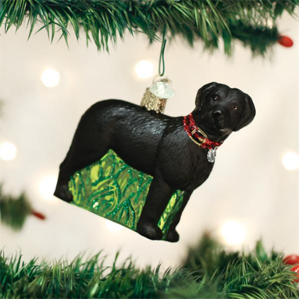 Old World Christmas Glass Ornament - Standing Black Lab