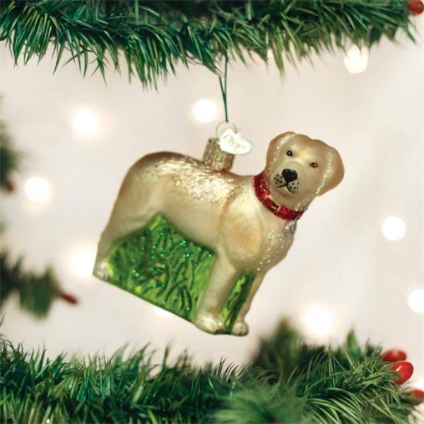 Old World Christmas Glass Ornament - Standing Yellow Lab
