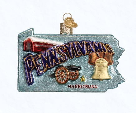 "Old World Christmas Glass Ornament - ""State Of Pennsylvania"""