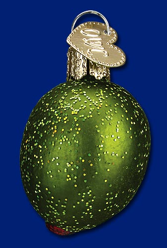 "Old World Christmas Glass Ornament  - ""Stuffed Green Olive"""