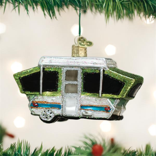 "Old World Christmas Glass Ornament - ""Tent Camper"""