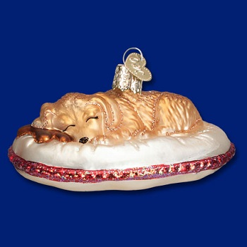 "Old World Christmas Glass Ornament - ""Tired Dog"""